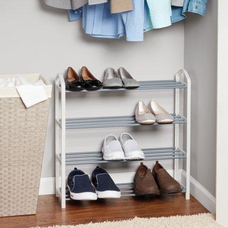 Mainstays 4-Tier Shoe Rack, White with Steel Shelves - Walmart.com .