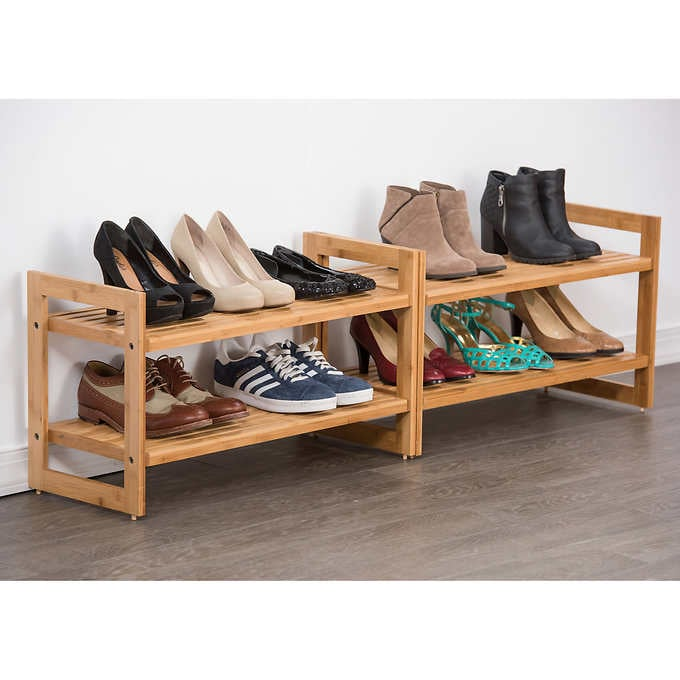 TRINITY Bamboo 2-tier Shoe Rack, 2-pa
