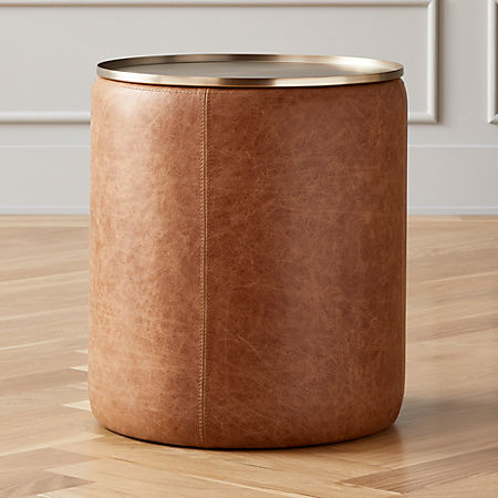 Stitch Leather Round Storage Side Table + Reviews | C