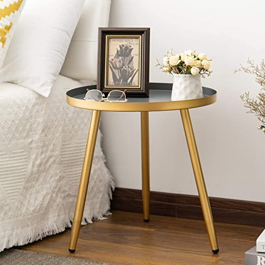 Amazon.com: Round Side Table, Metal End Table, Nightstand/Small .