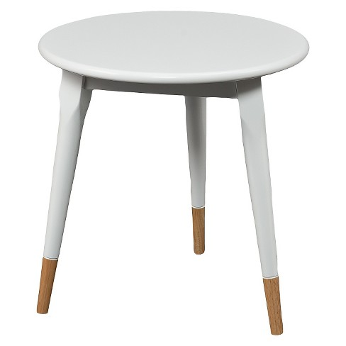 Alden Round Side Table Glossy - White - Aiden Lane : Targ