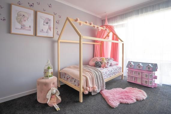 Kids Toddler Wooden House Bed Frame King Single Size | Et
