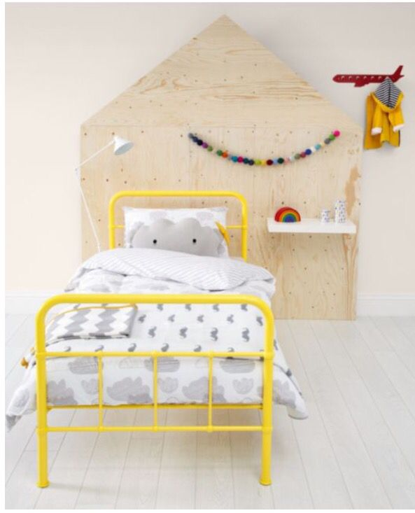 Rory yellow metal single bed. | Yellow bedding, Kid beds, Kids .