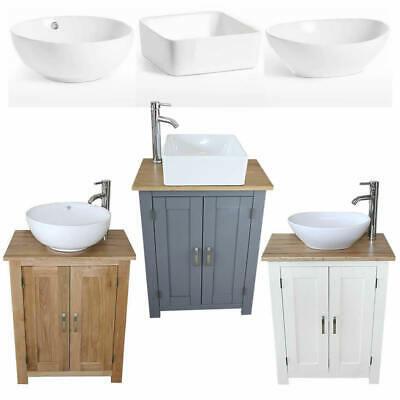 Bathroom Vanity Unit | Compact Oak Sink Cabinet | Ceramic Basin .