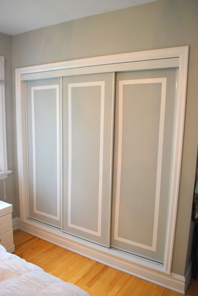 painted sliding closet doors: faux trim effect | Closet door .