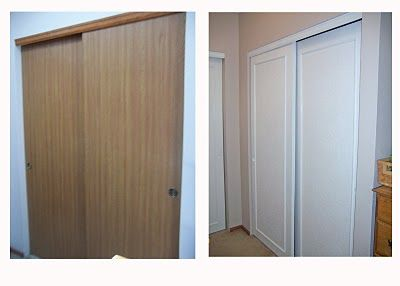 Closet door makeover on the cheap. Great, inexpensive way to dress .