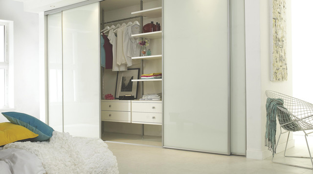 Linear White Gloss Sliding Wardrobe Doors - Contemporary - Bedroom .