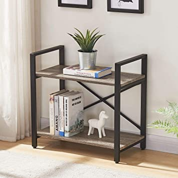 Amazon.com: BON AUGURE Small Bookshelf for Small Space, 2 Shelf .