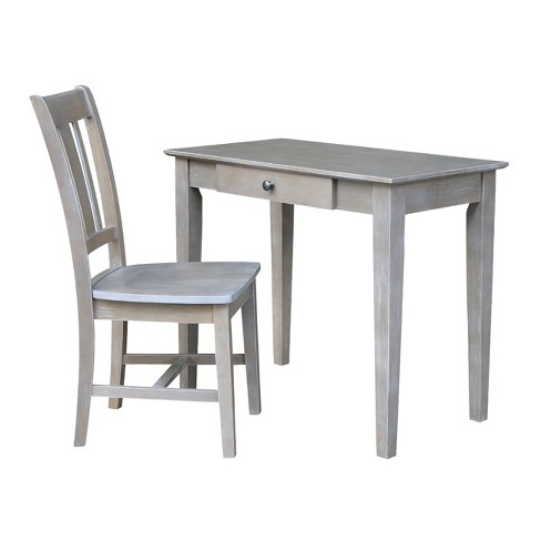 Small Desk With Drawer And Chair Washed Gray/Taupe - International .
