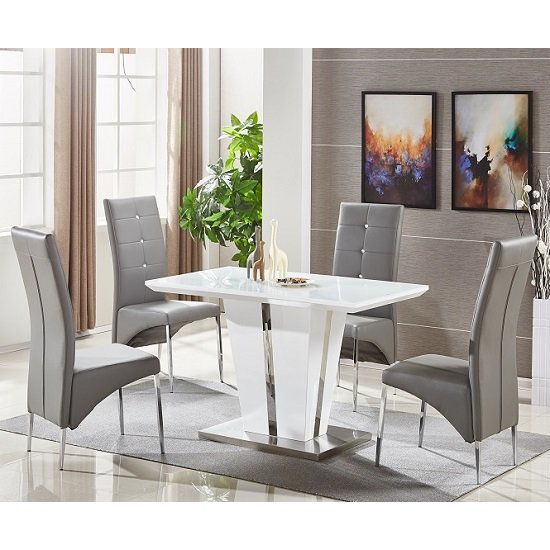 Memphis Glass Dining Table Small In White With 4 Grey Chairs .