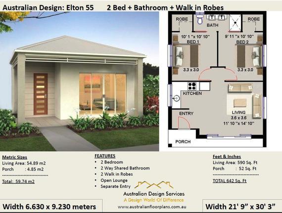 Small House Design 55 Elton 59.74 m2 or 642 Sq Feet / 2 | Et