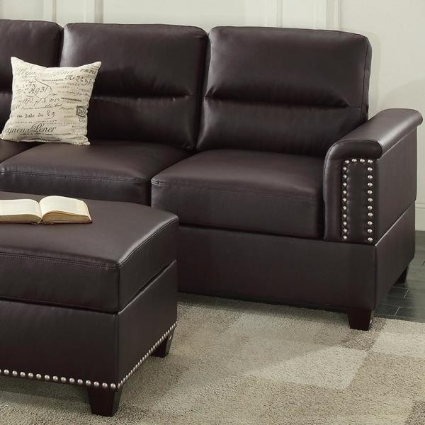 Venetian Worldwide Naples Espresso Leatherette Sectional Sofa with .