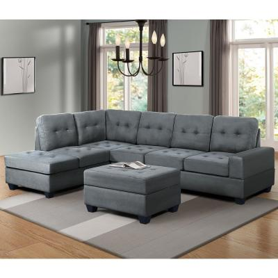 Harper & Bright Designs Gray 3-Piece Sectional Sofa with Cup .