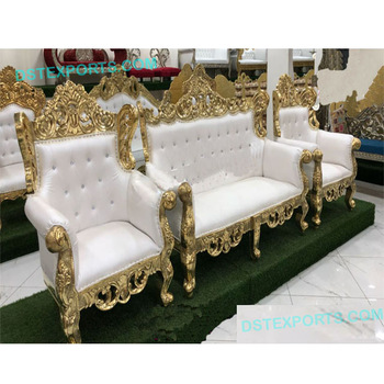 Indian Wedding Maharaja Gold Sofa Set,Bollywood Style Indian .