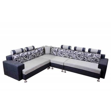 Mango Wood L Shape Sofa Set (Multicolor) - Pirodia Furniture | L .