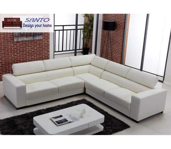 China Leather Corner Sofa Set Modern Design - China Brown Leather .