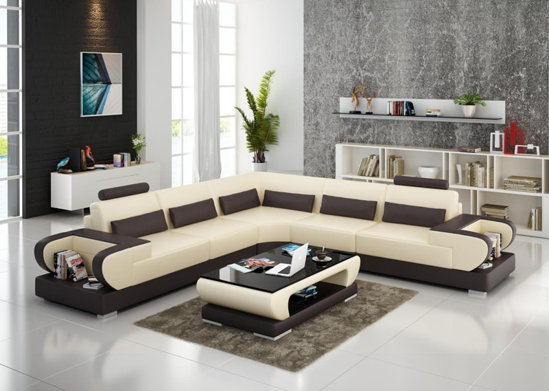 Modular Design Living Room Furniture Geniue Leather Sofa Set .