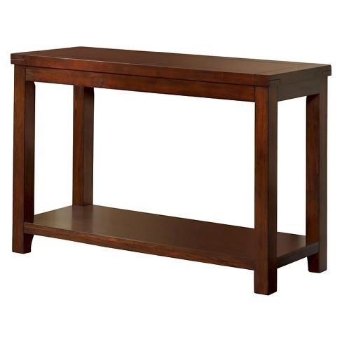 Sineca Simple Natural Wood Grain Sofa Table Dark Cherry - MiBasics .