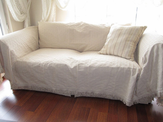 Large - Sofa throw covers rectangle tassel ivory-couch coverlet .
