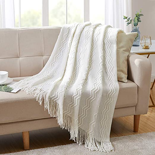 Amazon.com: Bourina Throw Blanket Textured Solid Soft for Sofa .