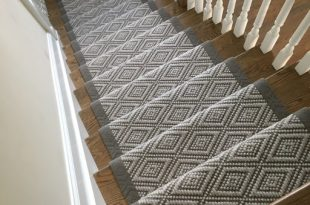 Flat-weave Wool Stair Runner with Wide Binding - Transitional .