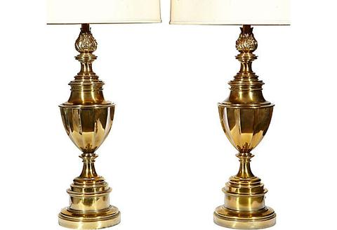 1960s Brass Urn-Style Stiffel Lamps, Pair – 2bMode