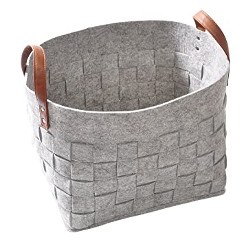 Amazon.com : LoongBaby Felt Storage Baskets with Handles Soft .