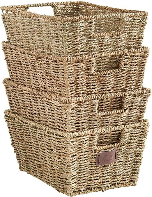 Amazon.com: VonHaus Set of 4 Seagrass Storage Baskets with Insert .