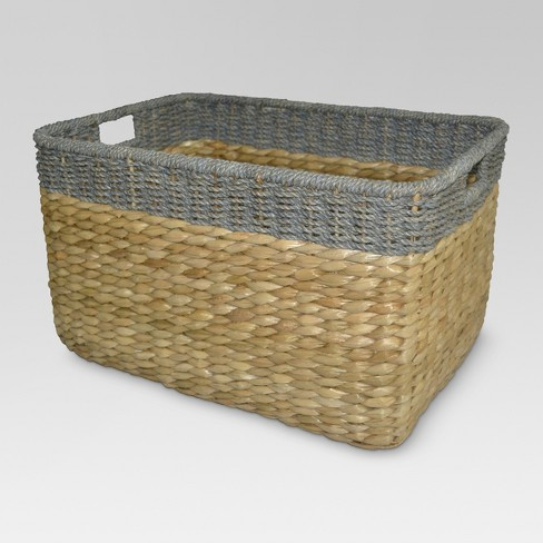 Seagrass Extra Large Rectangle Storage Basket With Gray Trim 13.25 .