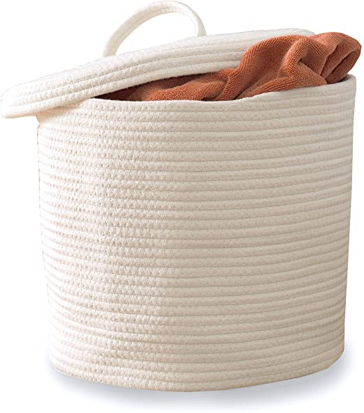 Amazon.com: Cotton Rope Storage Basket- Large Woven Baskets with .