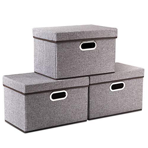 Amazon.com - Prandom Foldable Storage Boxes with Lids [3-Pack .