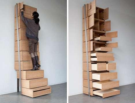 Stepladder Drawers : staircase storage soluti
