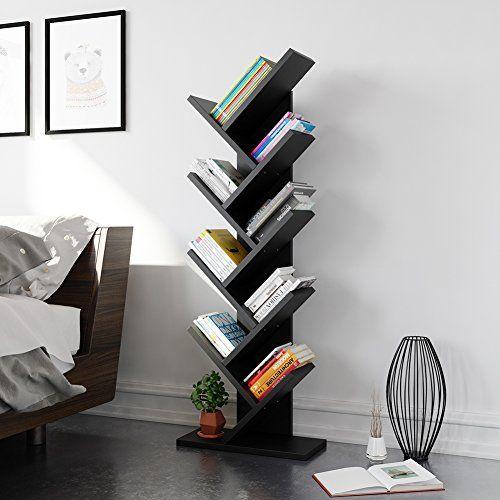 Tribesigns 9-Shelf Tree Shaped Bookcase Book Shelf Modern Stylish .