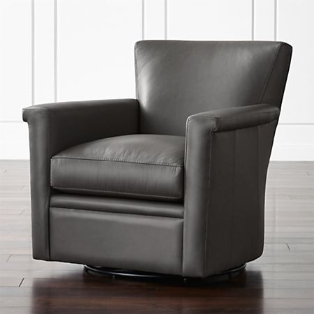 Declan Leather 360 Swivel Chair + Reviews | Crate and Barr