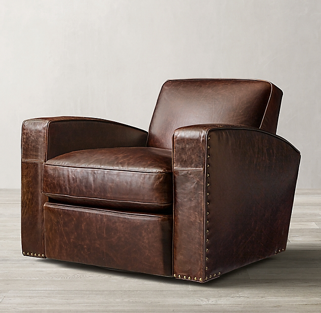 Library Leather Swivel Cha