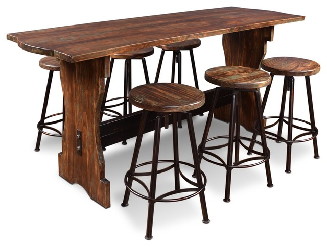 7-Pc Counter Height Pub Table Set - Industrial - Indoor Pub And .