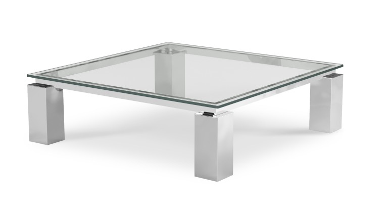 Table basse de salon en verre transparent Arklow - Mobilier Mo
