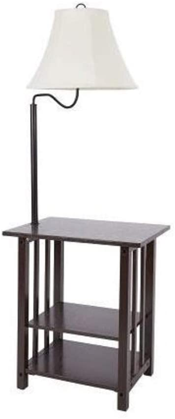 Combination Floor Lamp End Table with Shelves and Swing Arm Shade .