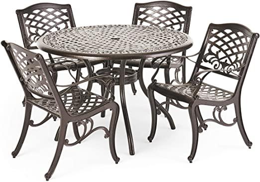 Amazon.com: Hallandale Outdoor Furniture Dining Set, Cast Aluminum .