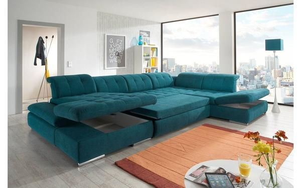 Alpine Fabric Sectional Sofa in Teal Buy Online in Store .