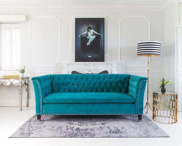 Nightingale Teal Blue Velvet Sofa - Transitional - Living Room .