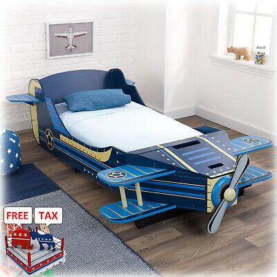 Toddler Bed Boy Airplane Storage Rails Kid Children Bedroom .