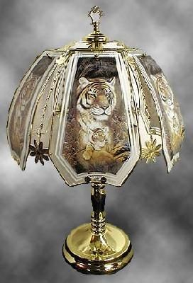"23"" Tiger Touch Lamp 3 with Polished Brass Base 