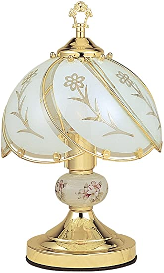 Ore International K313 White Glass Floral Touch Lamp, Brushed Gold .