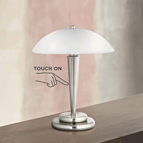 "Deco Dome Modern Desk Table Lamp 17"" High Touch On Off Brushed ."