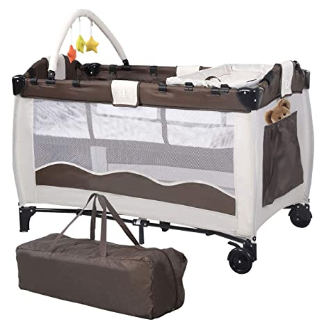 COSTWAY Portable Infant Baby Travel Cot, Bed Play Pen, Child .