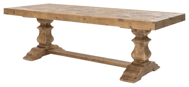 Ellicott Rustic Lodge Bleached Pine Trestle Dining Table - Rustic .