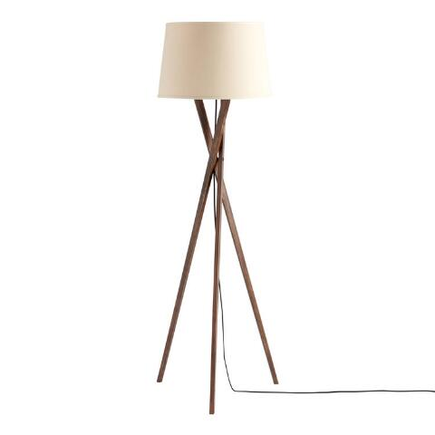 Walnut Wood Tripod Austin Floor Lamp Base | World Mark