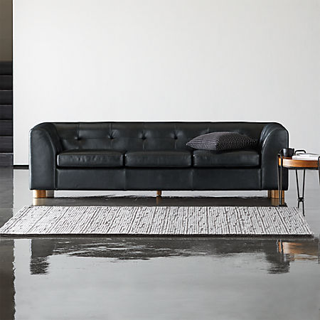 Kotka Black Tufted Leather Sofa + Reviews | C