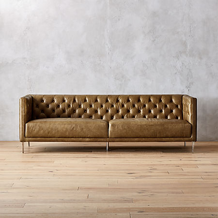 Savile Saddle Leather Tufted Sofa + Reviews | C